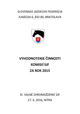 Správa o činnosti komisií 2015