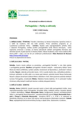 Portugalsko – Parky a záhrady - Spoločnosť pre záhradnú a krajinnú
