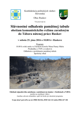 Pozvánka – 25. jún 2016 – Ruskov