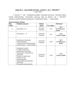 Zápis do 1. roku štúdia (fyzický, osobný) v ak. r. 2016/0217