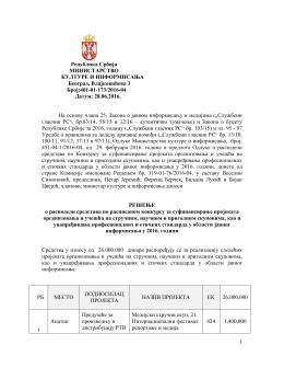 1 Република Србија МИНИСТАРСТВО КУЛТУРЕ И