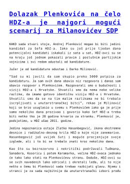 Dolazak Plenkovića na čelo HDZ-a je najgori mogući