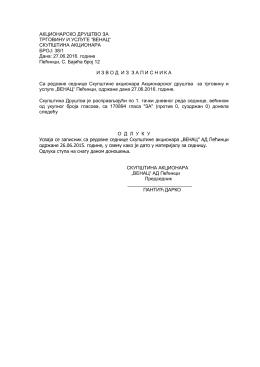 Odluke Skupstine VENAC 2016