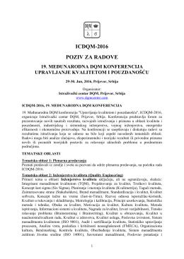 icdqm-2016 poziv za radove 19. međunarodna dqm konferencija