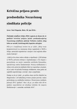Krivična prijava protiv predsednika Nezavisnog sindikata policije