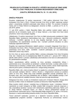 prijedlog platforme za posjetu i učešće delegacije