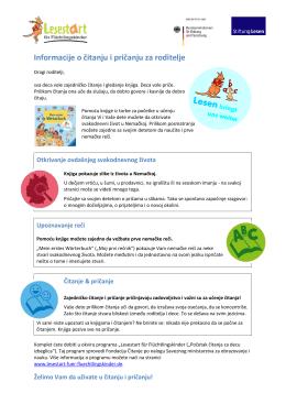 Informacije o čitanju i pričanju za roditelje