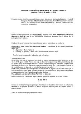 Zapisnik sa održane redovne skupštine 27.06.2016.