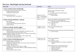 Plan kursa - Metodologija naučnog istraživanja