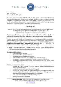 Broj: 01-4231/16 Sarajevo, 27. 06. 2016. godine Na osnovu