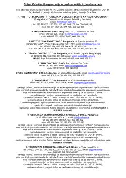 Spisak Ovlašćenih organizacija za poslove zaštite i zdravlja na radu