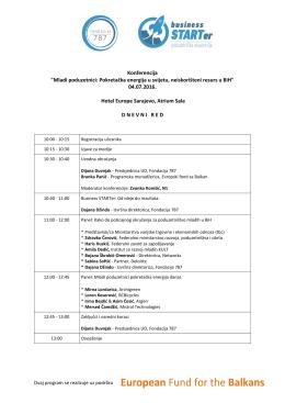 """Konferencija """"Mladi poduzetnici: Pokretačka energija u svijetu"""