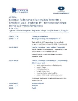 Sastanak Radne grupe Nacionalnog konventa o Evropskoj uniji