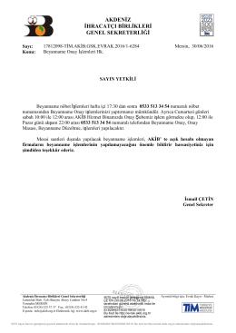 Beyanname Onay İşlemleri Hk. - Akdeniz İhracatçı Birlikleri