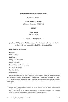 Avrupa İnsan Hakları Mahkemesi Dördüncü Bölüm Borg v. Malta