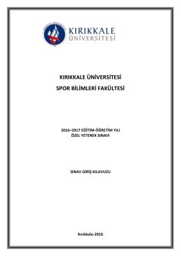 kırıkkale üniversitesi spor bilimleri fakültesi