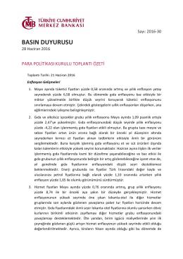 Para Politikası Kurulu Toplantı Özetine İlişkin Basın Duyurusu