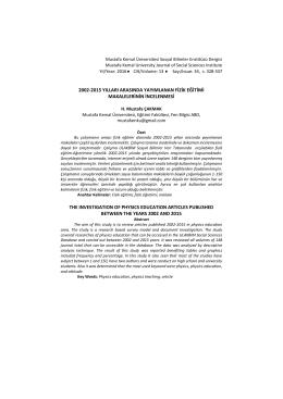 2002-2015 yılları arasında yayımlanan fizik eğitimi makalelerinin
