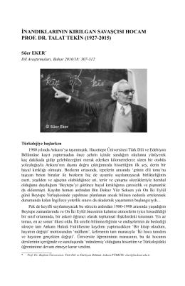 İnandıklarının Kırılgan Savaşçısı Hocam Prof. Dr