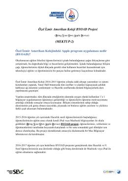 Özel İzmir Amerikan Koleji BYOAD Projesi (MEKTUP-2)