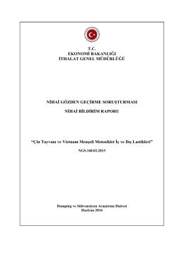 tc ekonomi bakanlığı ithalat genel müdürlüğü nihai gözden geçirme