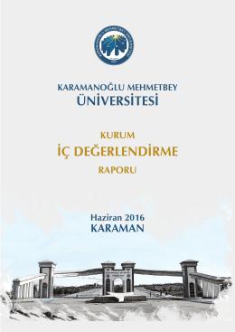 Üniversitemiz Kurum İç Değerlendirme Raporu Yayımlanmıştır