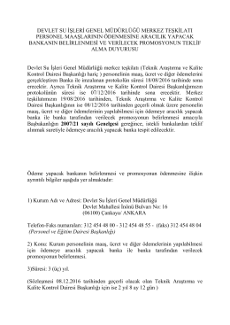 Banka İhale Şartnamesi - Devlet Su İşleri Genel Müdürlüğü