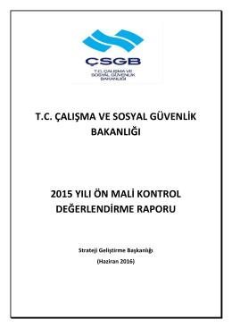 2015 Yılı Ön Mali Kontrol Değerlendirme Raporu