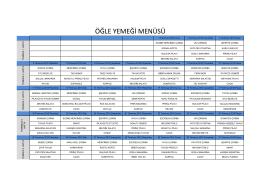 Temmuz Ayı Yemek Listesi