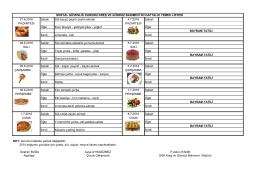 27 Haziran-01 Temmuz 2016 Tarihleri Arası Yemek Listesi