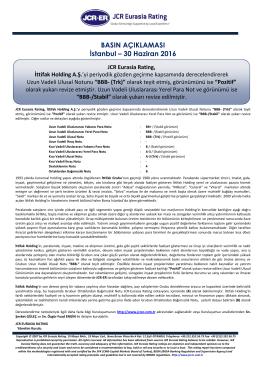 JCR Eurasia Rating, İttifak Holding A.Ş.`yi periyodik