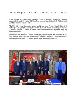 İl Müdürü SEVİNÇ` e Ankara Serbest Muhasebeci Mali
