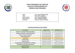 2016-2017 Dönem 3 Ders Programı - Düzce Üniversitesi Tıp Fakültesi