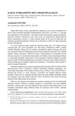 karay türklerinin dili (troki diyalekti)