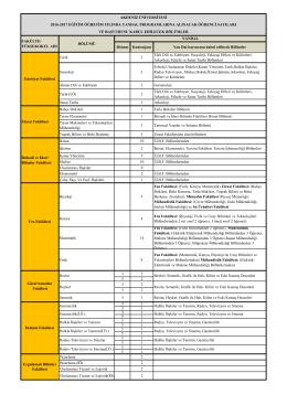 Dönem Kontenjanı Yan Dal başvurusu kabul edilecek Bölümler