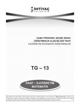 İlköğretim Matematik Öğretmenliği TG_13