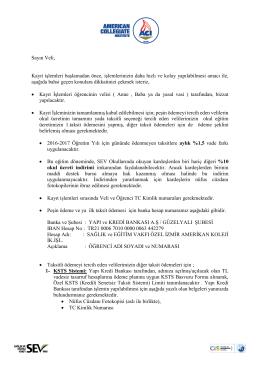 MEKTUP6- Hazırlık sınıfı okul ücreti ve ödeme şekli