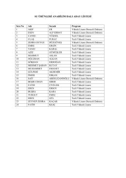 su ürünleri anabilim dalı aday listesi
