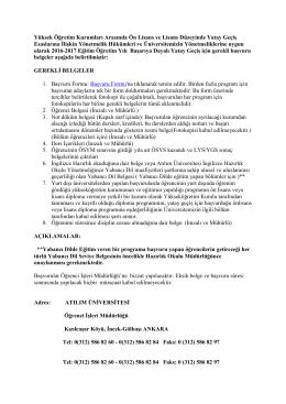Gerekli Belgeler - Atılım Üniversitesi