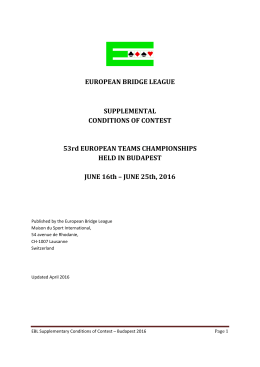 Teams - European Bridge League