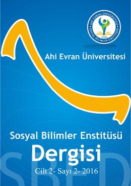 Cilt 2- Sayı 2- 2016 - Ahi Evran Üniversitesi Sosyal Bilimler Enstitüsü