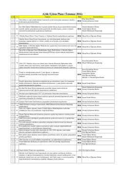 Temmuz 2016 Eylem Planı - Tokat İl Milli Eğitim Müdürlüğü