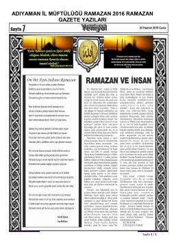 adıyaman il müftülüğü ramazan 2016 ramazan gazete yazıları