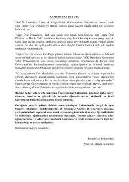 açıklama için tıklayınız - Turgut Özal Üniversitesi
