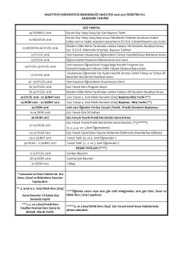 2016 - 2017 Yılı Akademik Takvimi