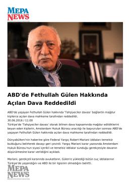 ABD`de Fethullah Gülen Hakkında Açılan Dava