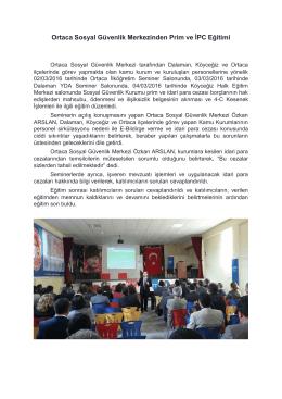 Ortaca Sosyal Güvenlik Merkezinden Prim ve İPC Eğitimi