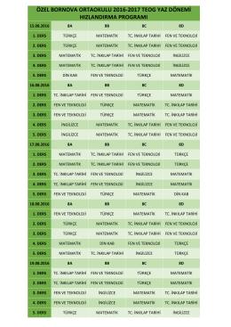 özel bornova ortaokulu 2016-2017 teog yaz dönemi