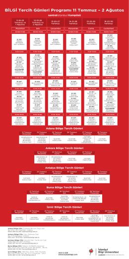 BİLGİ Tercih Günleri Programı 11 Temmuz – 2 Ağustos