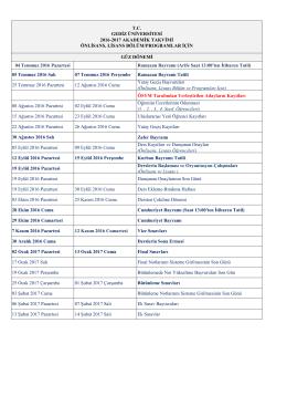 Gediz Üniversitesi 2016-2017 Öğretim Yılı Akademik Takvimi